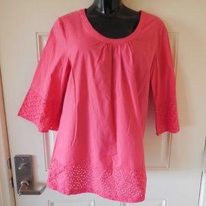 Liz Claiborne 3/4 Bell Sleeve Tunic Top w/Eyelets